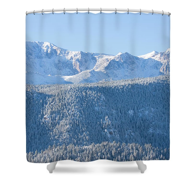 Extreme Terrain Shower Curtain featuring the photograph Pikes Peak In Fresh Snow by Swkrullimaging
