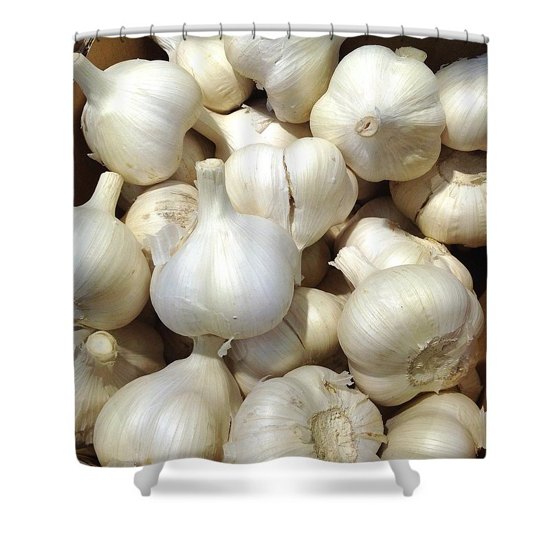 Heap Shower Curtain featuring the photograph Pile Of Garlic by Digipub