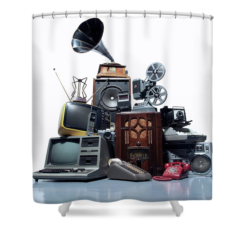 White Background Shower Curtain featuring the photograph Pile Of Old Technology by Pm Images