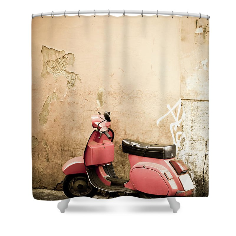 Desaturated Shower Curtain featuring the photograph Pink Scooter And Roman Wall, Rome Italy by Romaoslo