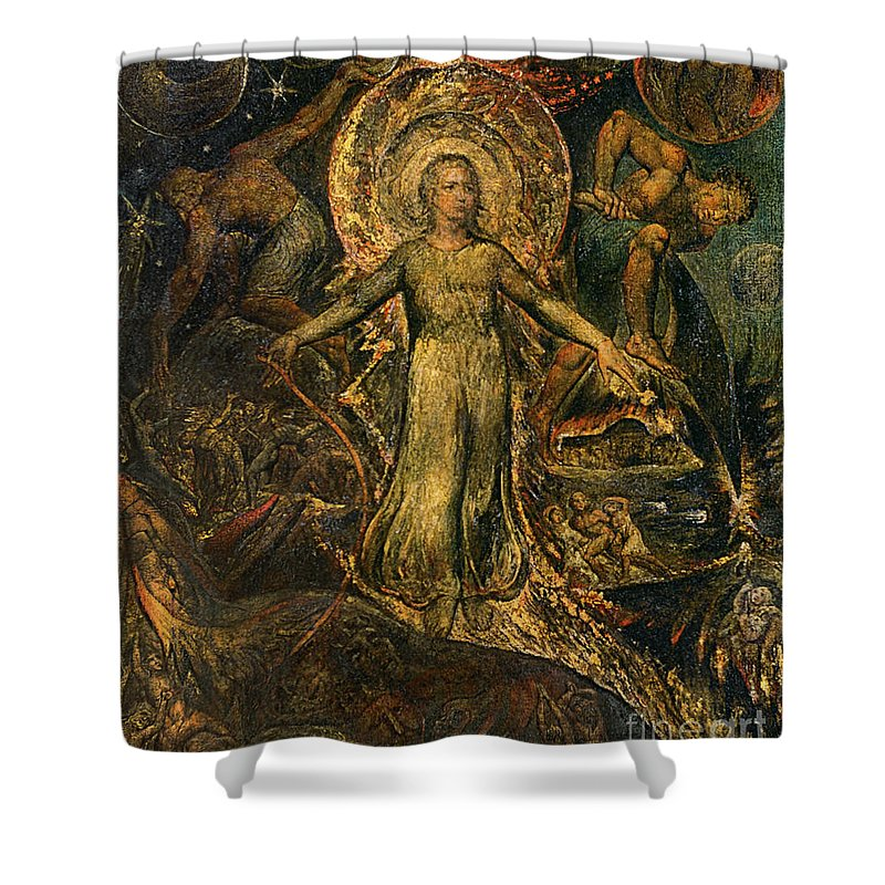 1805 Shower Curtain featuring the painting Pitt Guiding Behemoth, C1805 by William Blake