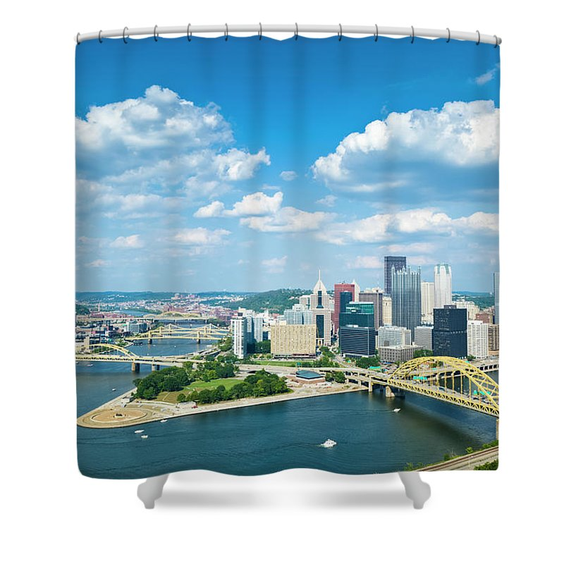 Arch Shower Curtain featuring the photograph Pittsburgh, Pennsylvania Skyline With by Drnadig