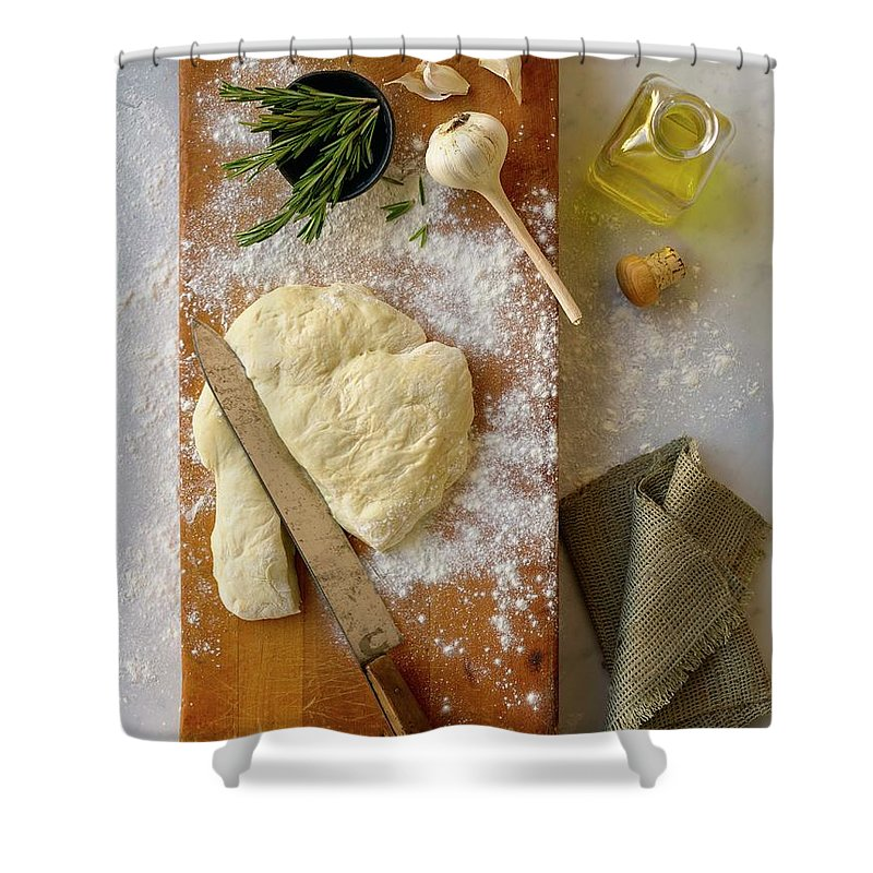 Cutting Board Shower Curtain featuring the photograph Pizza Dough And Ingredients On Cutting by Brian Macdonald