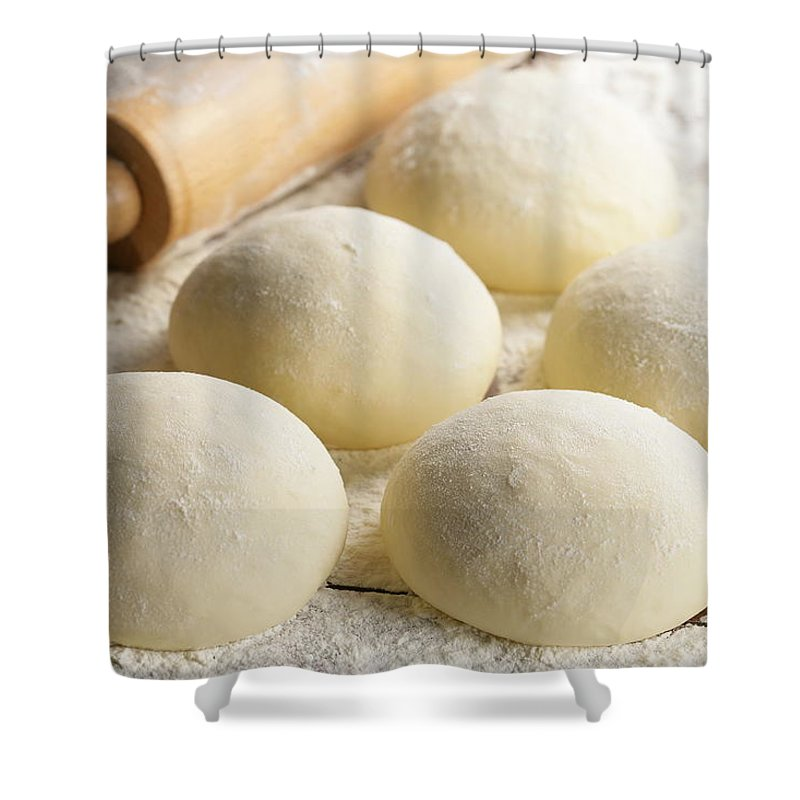Rolling Pin Shower Curtain featuring the photograph Pizza Doughs by Foodad / Multi-bits