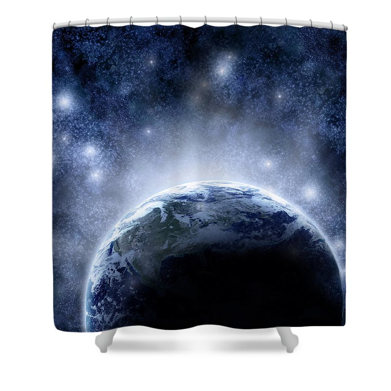 Outdoors Shower Curtain featuring the digital art Planet Earth And Stars by Nicholas Monu