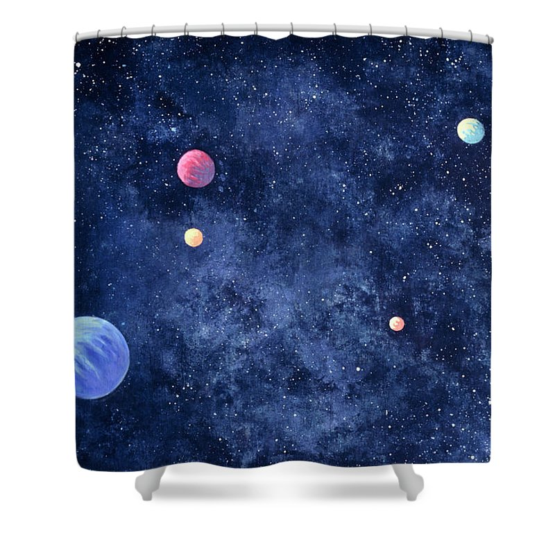 The Media Shower Curtain featuring the photograph Planets In Solar System by Huntstock
