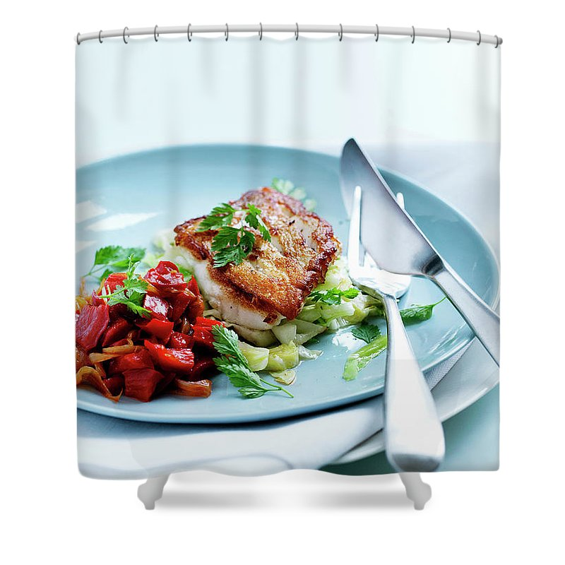 White Background Shower Curtain featuring the photograph Plate Of Fried Fish And Salad by Line Klein