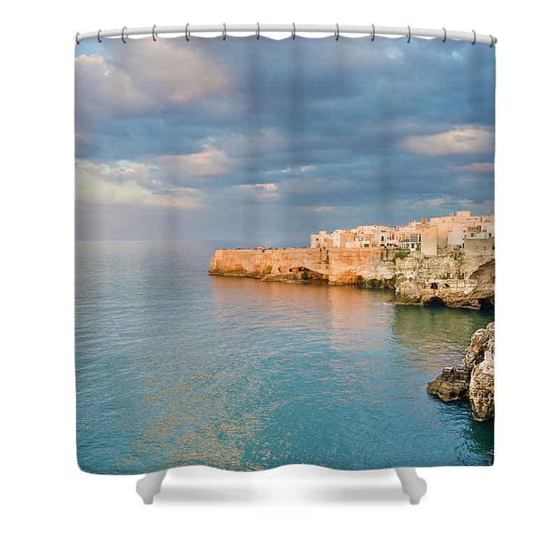 Adriatic Sea Shower Curtain featuring the photograph Polignano A Mare On The Adriatic Sea by David Madison