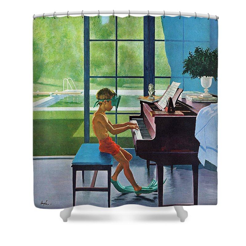 Boy Shower Curtain featuring the drawing Poolside Piano Practice by George Hughes