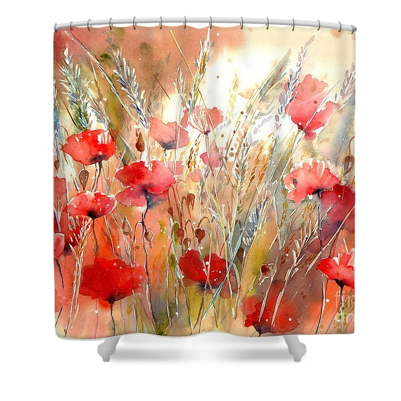 Red Shower Curtain featuring the painting Poppy Fields Forever by Suzann Sines