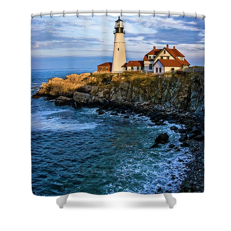 Built Structure Shower Curtain featuring the photograph Portland Head Light by C. Fredrickson Photography