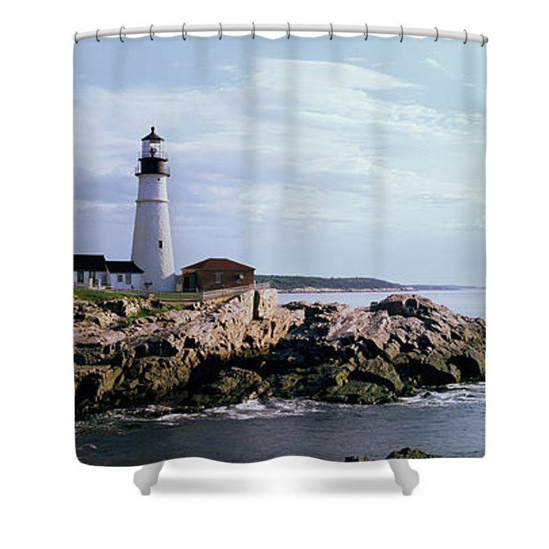 Extreme Terrain Shower Curtain featuring the photograph Portland Head Lighthouse, Cape by Tony Sweet