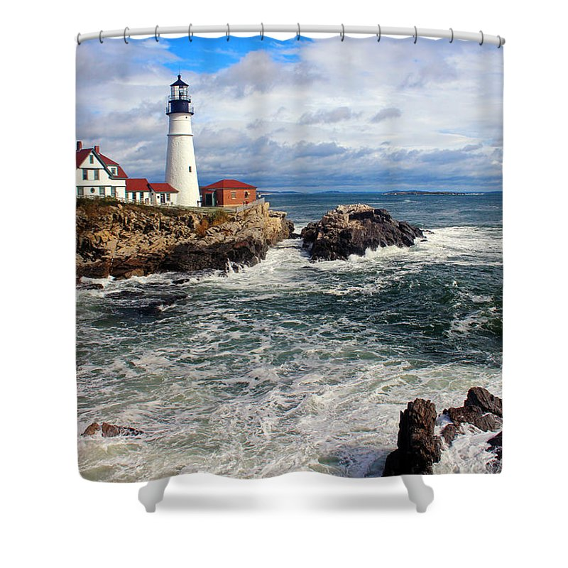 Tranquility Shower Curtain featuring the photograph Portland Head Lighthouse by Jeremy D'entremont, Www.lighthouse.cc