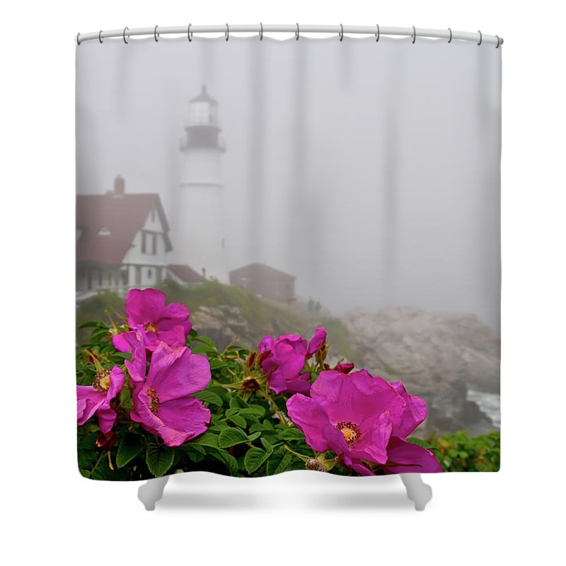 Built Structure Shower Curtain featuring the photograph Portland Headlight With Rosa Rugosa And by Www.cfwphotography.com