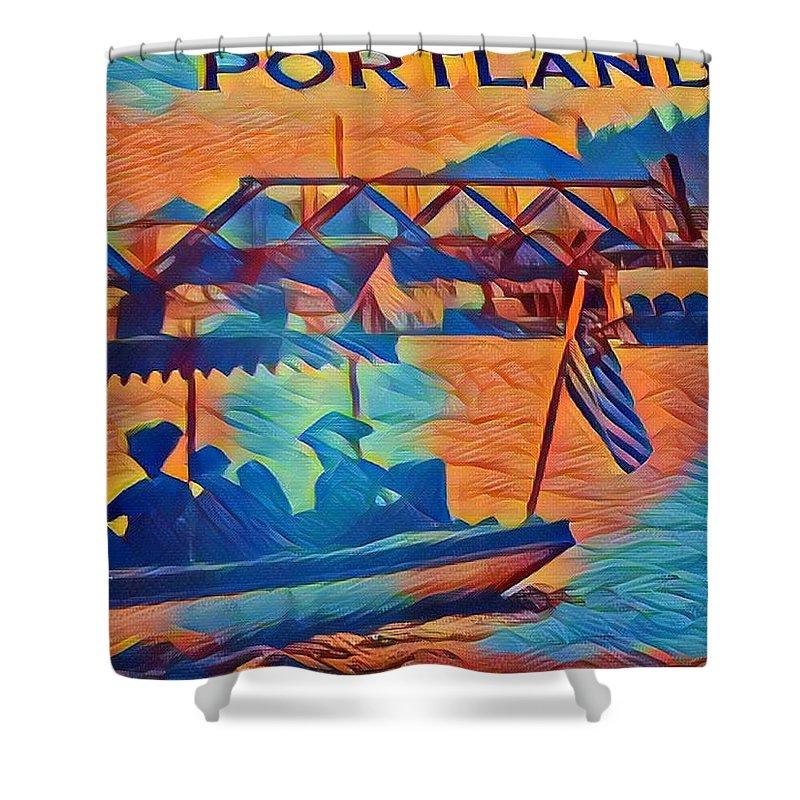 Shower Curtain featuring the digital art Portland by James Harris