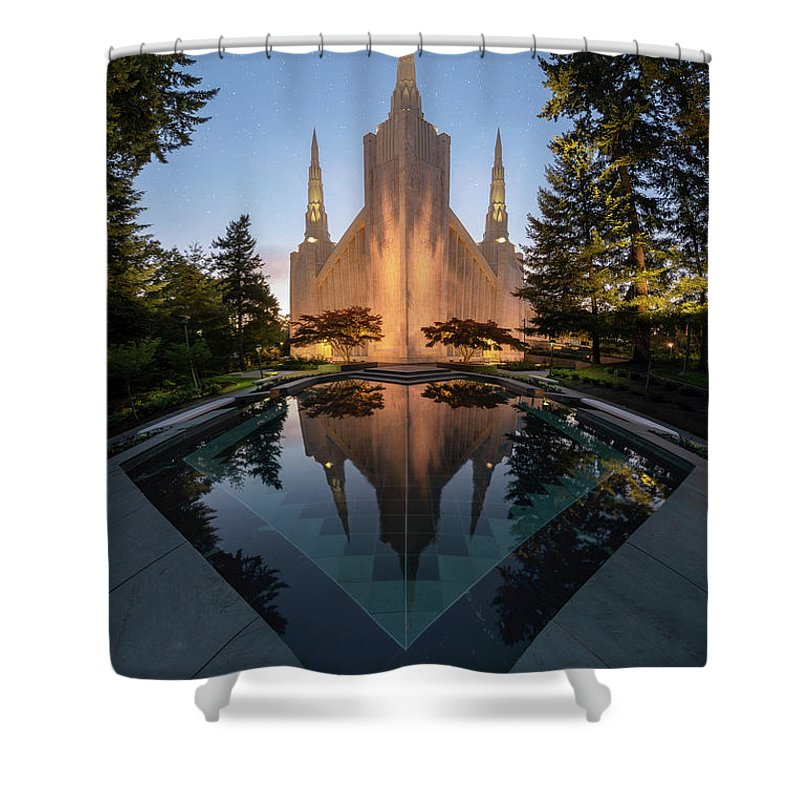 Latter Day Saints Shower Curtain featuring the photograph Portland Temple Night by Dustin LeFevre
