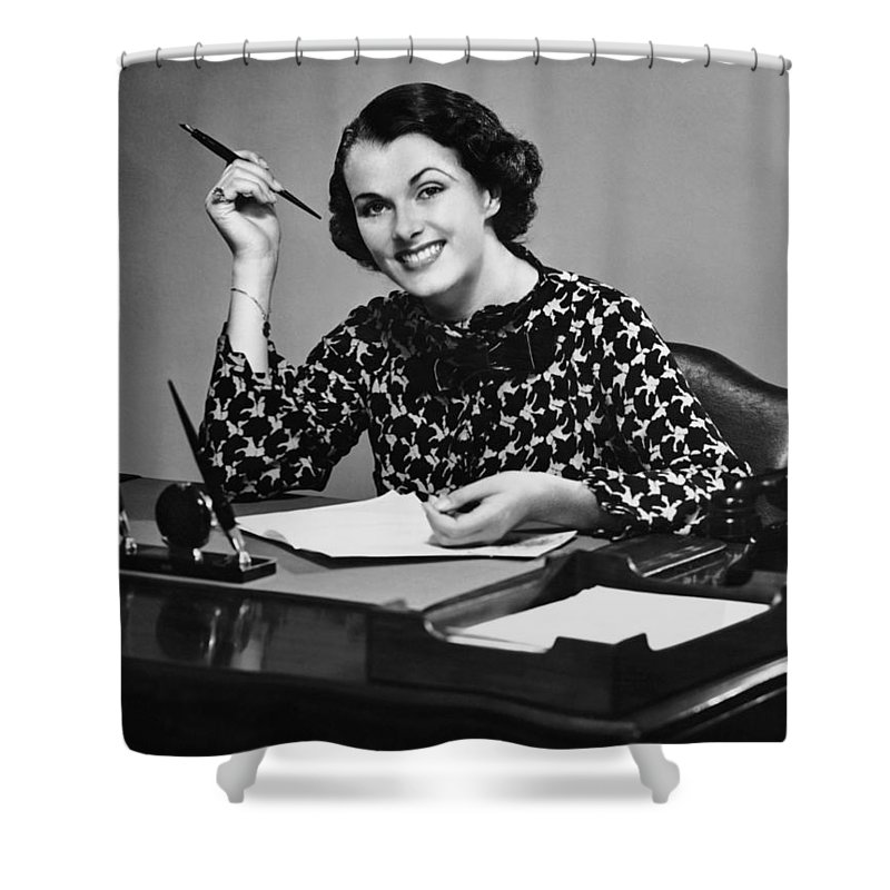 Corporate Business Shower Curtain featuring the photograph Portrait Of Businesswoman At Desk by George Marks