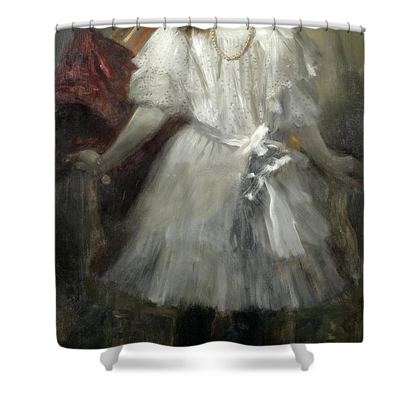 Jose Villegas Y Cordero Shower Curtain featuring the painting Portrait Of Caridad Fe Y Alba by Jose Villegas y Cordero