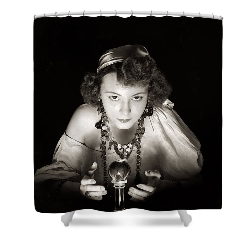 Coin Shower Curtain featuring the photograph Portrait Of Gypsy & Crystal Ball by H. Armstrong Roberts