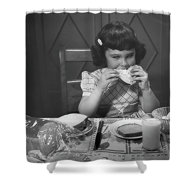 Milk Shower Curtain featuring the photograph Portrait Of Little Girl Eating Buttered by George Marks