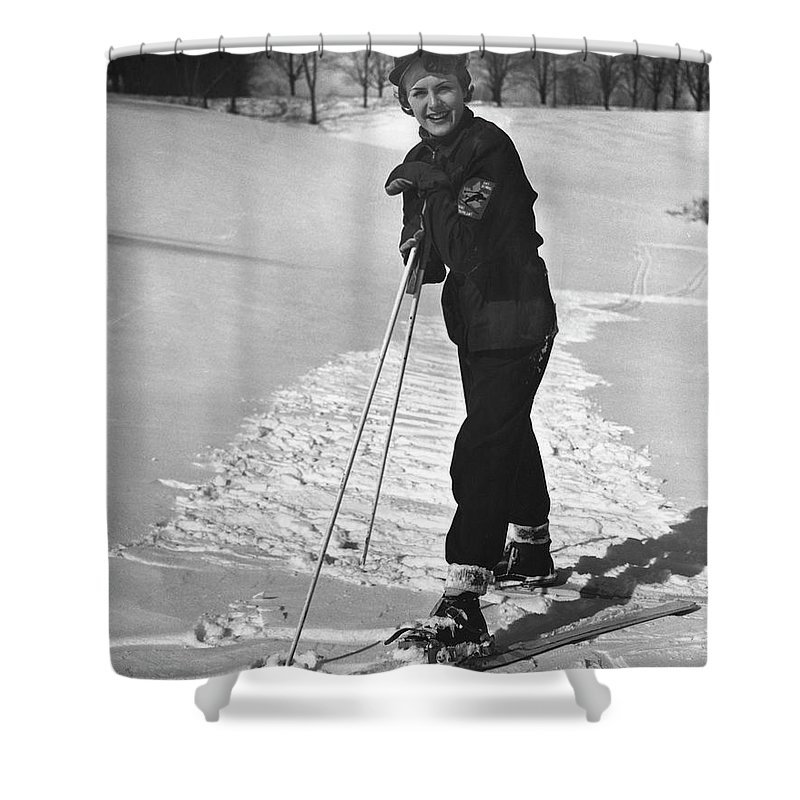 People Shower Curtain featuring the photograph Portrait Of Skier by George Marks