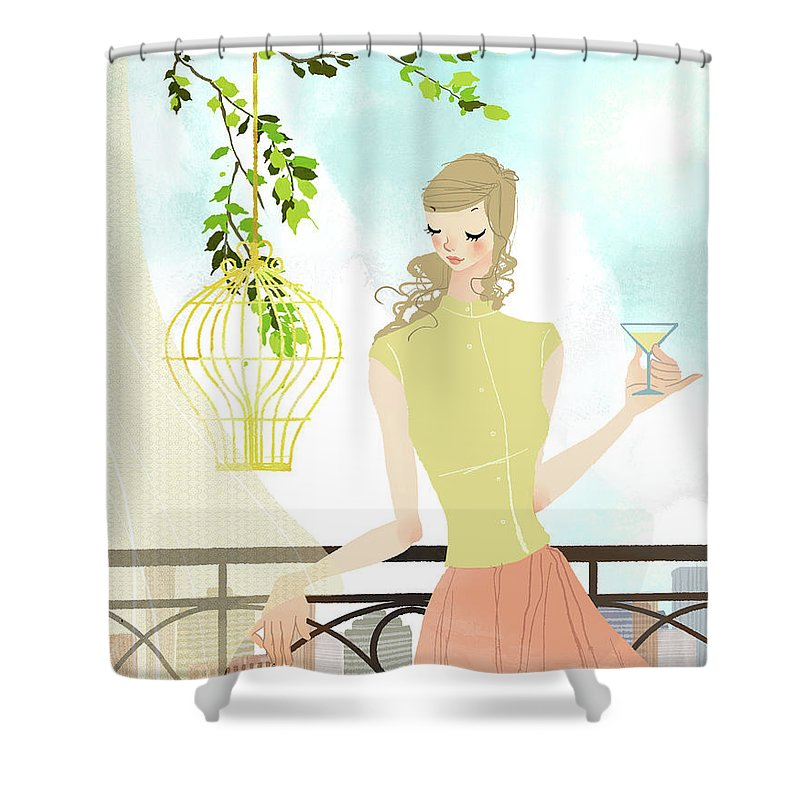 Tranquility Shower Curtain featuring the digital art Portrait Of Young Woman Holding by Eastnine Inc.