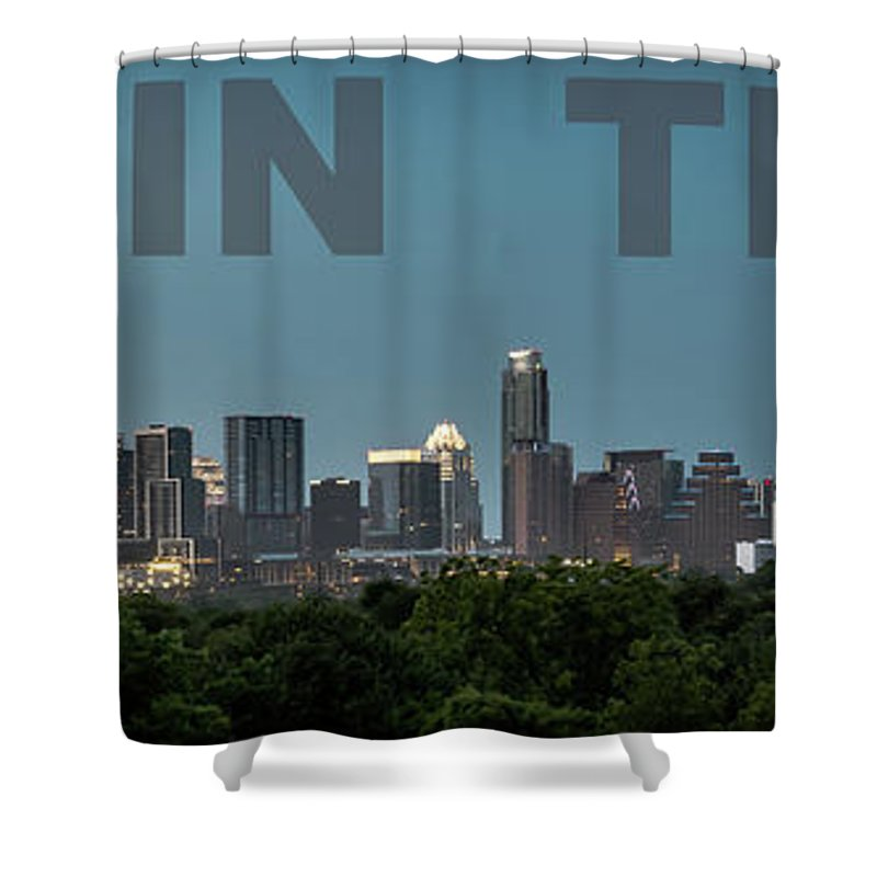 Austin Shower Curtain featuring the photograph Poster Of Downtown Austin Skyline Over The Green Trees by PorqueNo Studios
