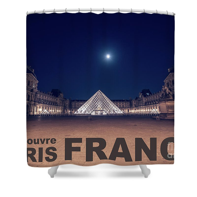 1st Arrondissement Shower Curtain featuring the photograph Poster Of The Louvre Museum At Night With Moon Above The Pyrami by PorqueNo Studios