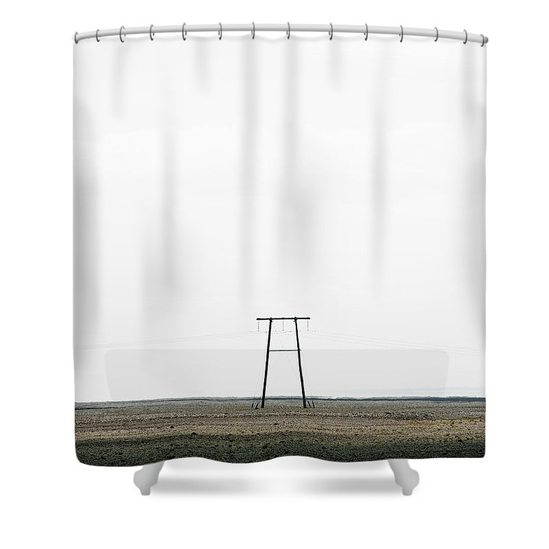 Clear Sky Shower Curtain featuring the photograph Powerline In Landscape by Roine Magnusson