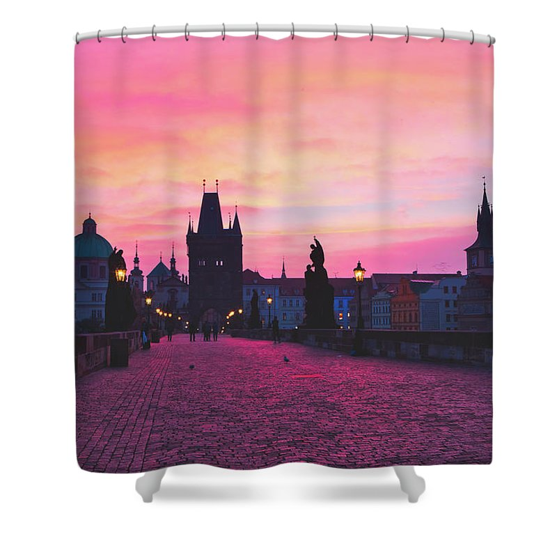 Pragues Charles Bridge At Sunrise Shower Curtain For Sale By Pixabay