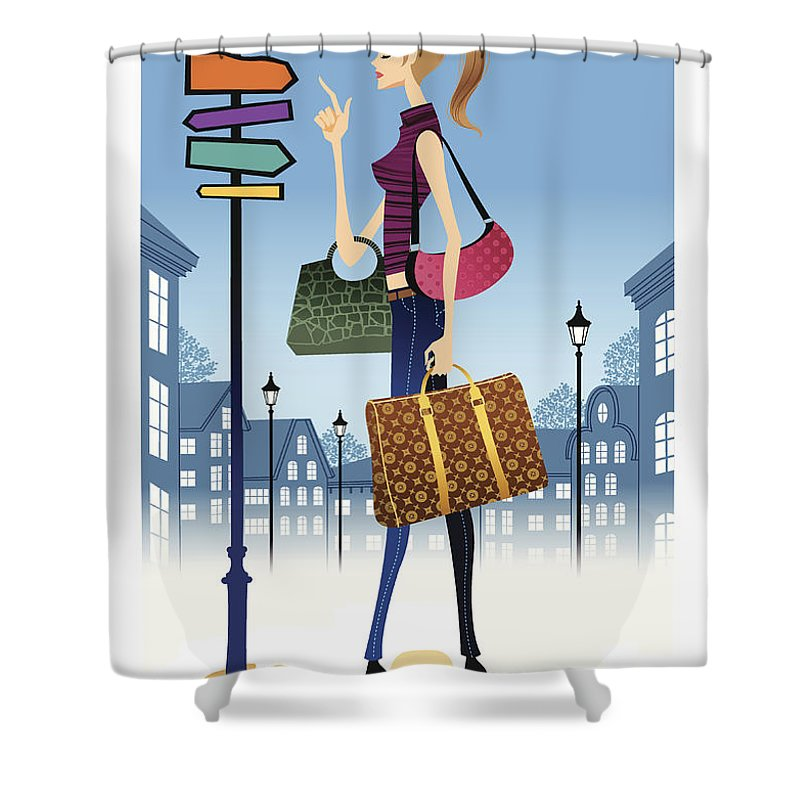 Problems Shower Curtain featuring the digital art Profile Of Woman Standing In Front Of by Eastnine Inc.