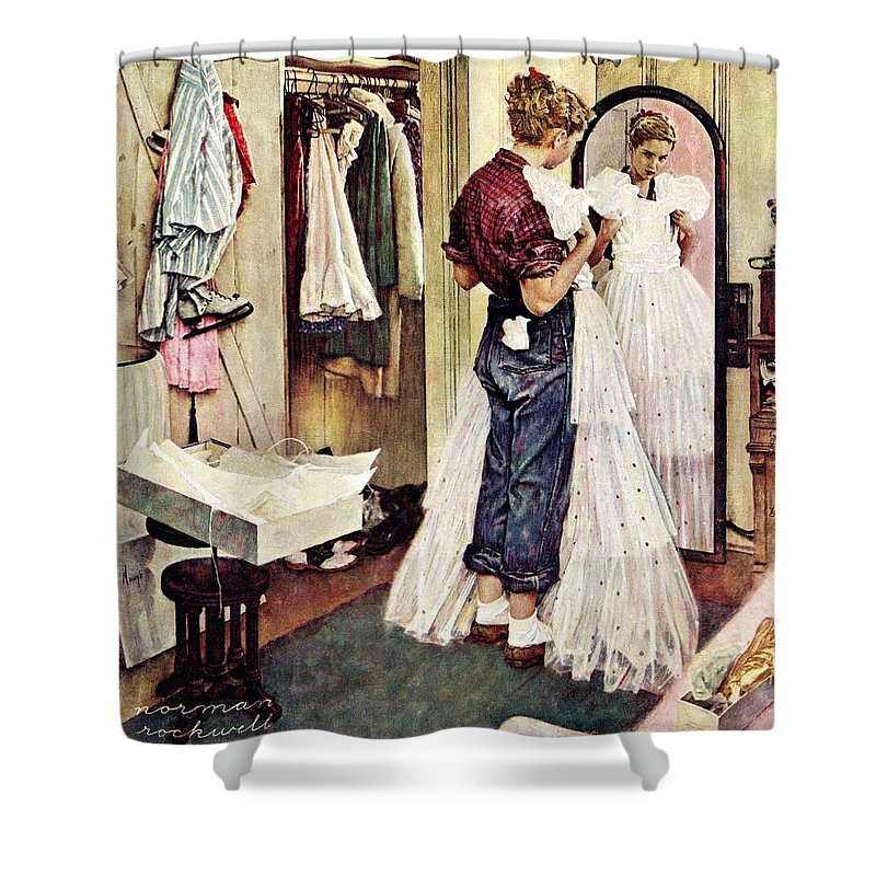 Dresses Shower Curtain featuring the drawing Prom Dress by Norman Rockwell