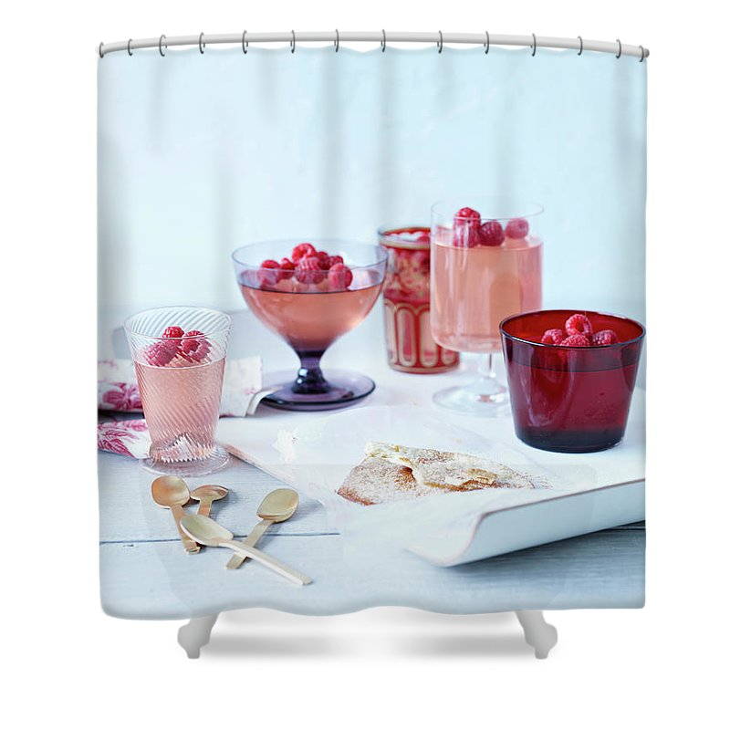Spoon Shower Curtain featuring the photograph Prosecco Jellies by Brett Stevens