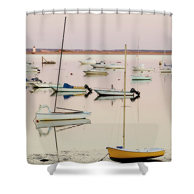 Sailboat Shower Curtain featuring the photograph Provincetown Harbor by Walter Bibikow