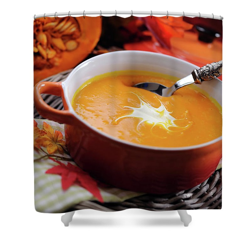 Event Shower Curtain featuring the photograph Pumpkin Soup In Skew With Creme Fraiche by Moncherie