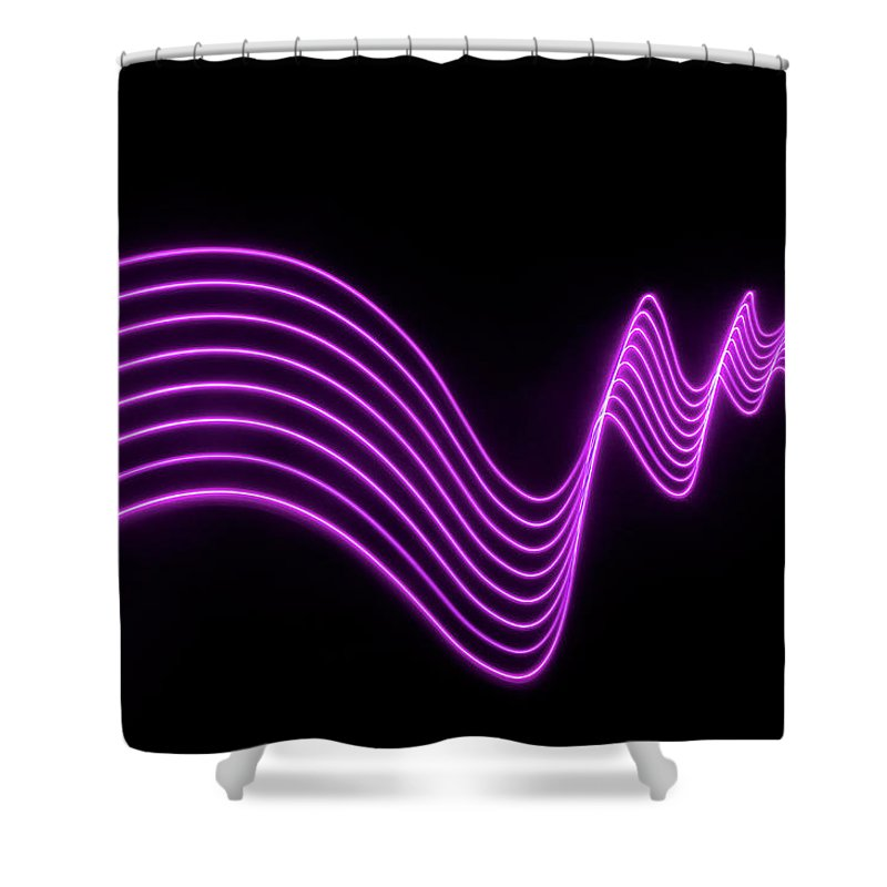Laser Shower Curtain featuring the photograph Purple Abstract Lights Trails And by John Rensten