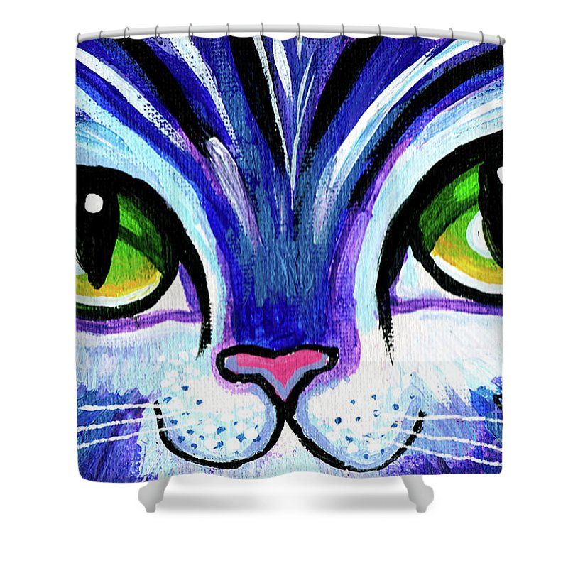 Cat Shower Curtain featuring the painting Purple Cat Face With Green Eyes by Genevieve Esson