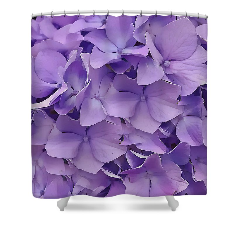 Purple Shower Curtain featuring the digital art Purple Hydrangea by Cindy Greenstein