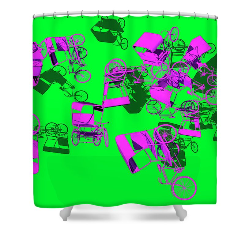 Rickshaws Shower Curtain featuring the digital art Purple Rickshaws Flying by Heike Remy