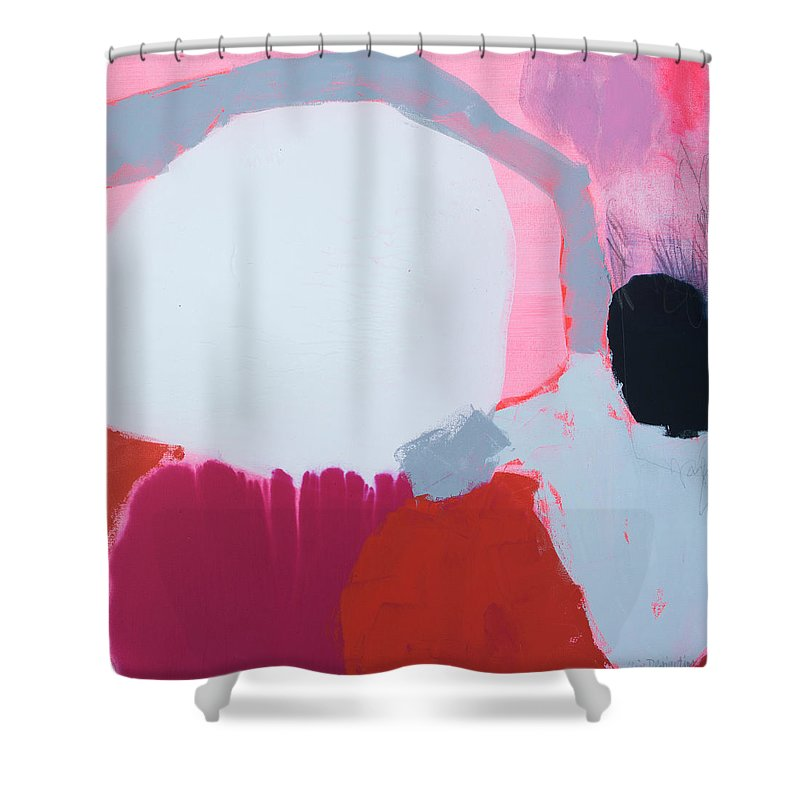 Abstract Shower Curtain featuring the painting Pussycats in Pussy Hats by Claire Desjardins