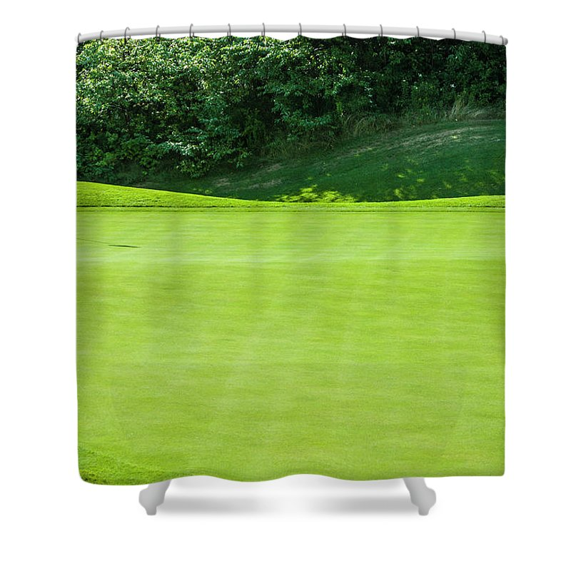 The End Shower Curtain featuring the photograph Putting Green And Flag At A Golf Course by Stuart Dee