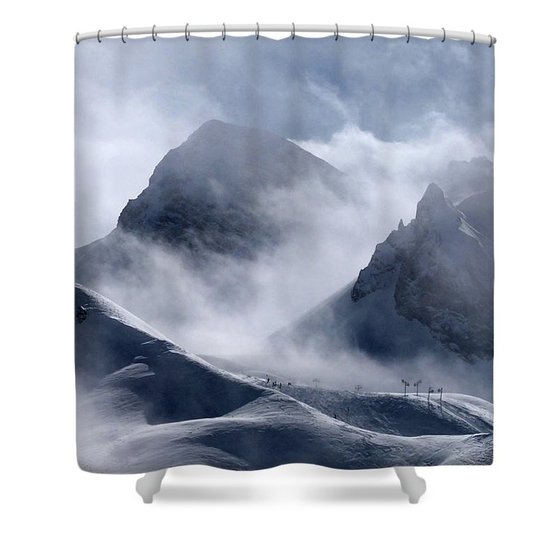 Scenics Shower Curtain featuring the photograph Pyramide And Roc Merlet In Courchevel by Niall Corbet @ Www.flickr/photos/niallcorbet