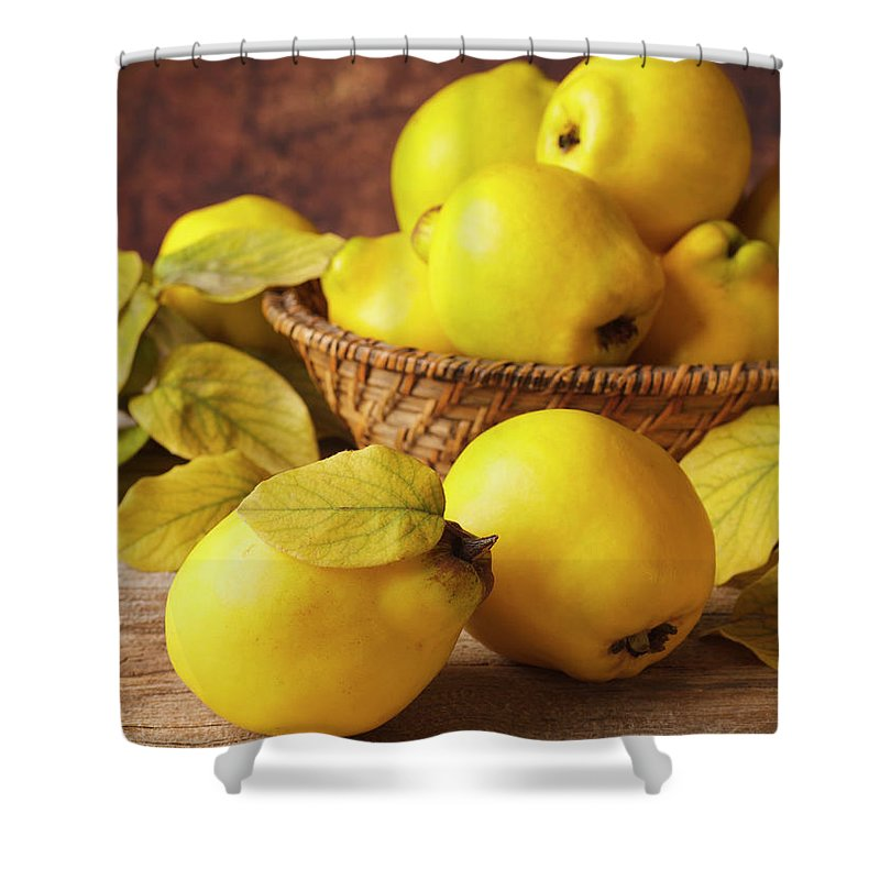 Quince Shower Curtain featuring the photograph Quinces by Syolacan