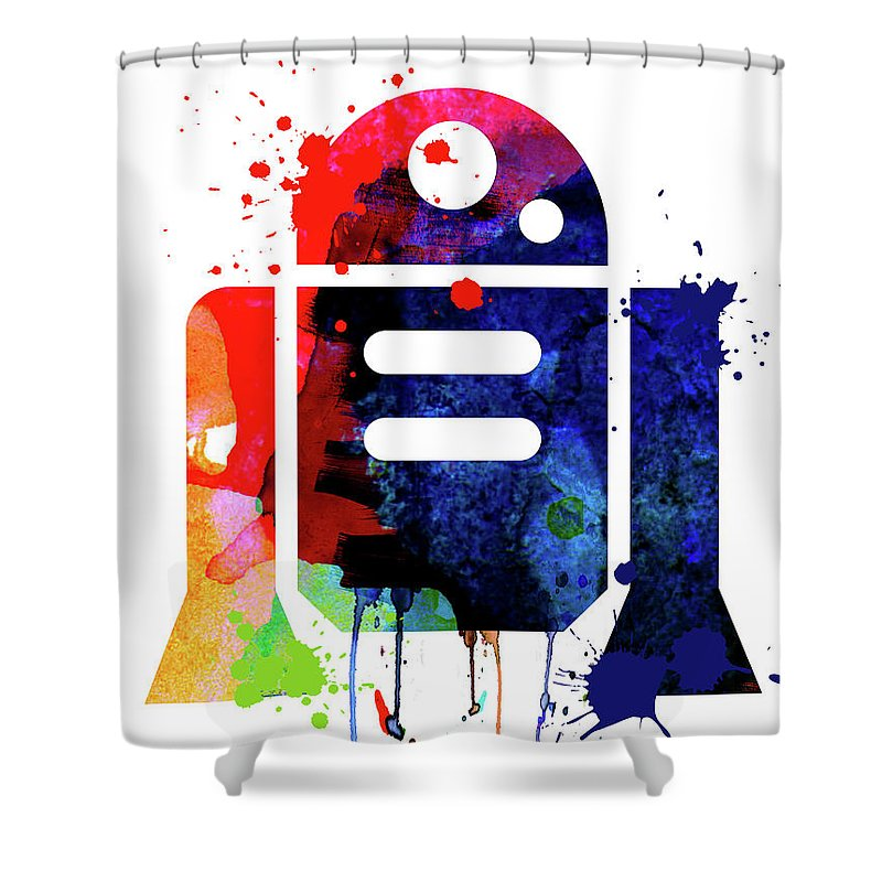 R2-d2 Shower Curtain featuring the mixed media R2-D2 cartoon Watercolor by Naxart Studio