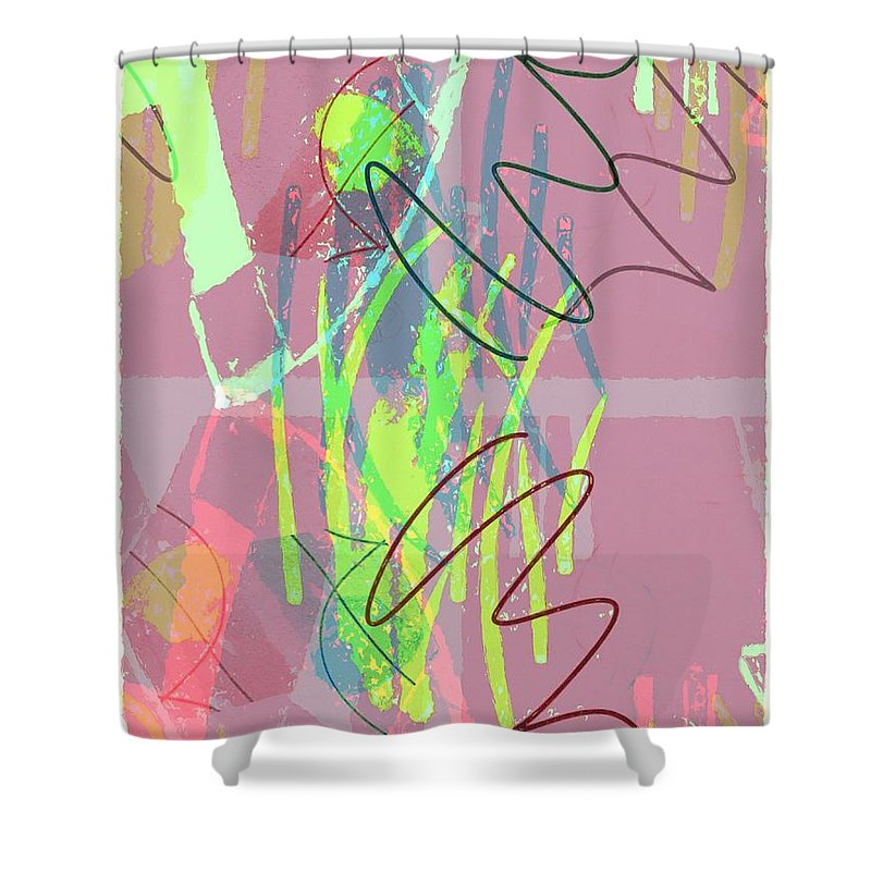 Abstract Shower Curtain featuring the painting Radar Love by Steve K