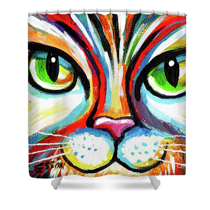 Cat Shower Curtain featuring the painting Rainbow Cat Face by Genevieve Esson