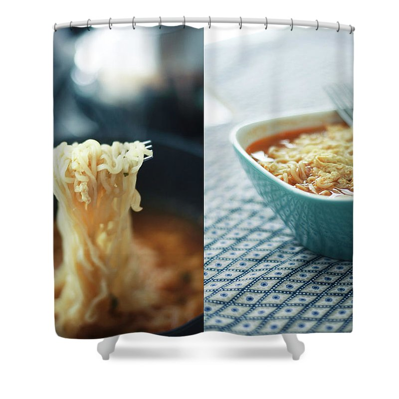 Kitchen Shower Curtain featuring the photograph Ramen Noodles Diptych by Alice Gao Photography