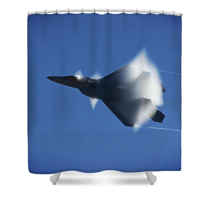 F-22 Shower Curtain featuring the photograph Raptor In Vapor Cloud 2 by Morgan Wright