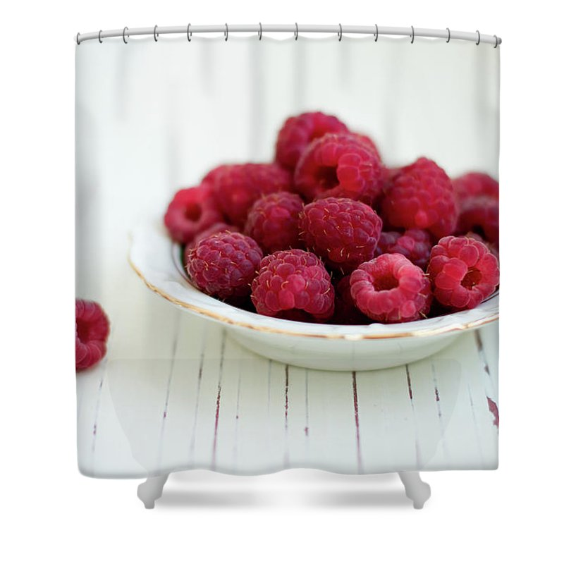 Outdoors Shower Curtain featuring the photograph Raspberry In Vintage Plate On White by Copyright Anna Nemoy(xaomena)