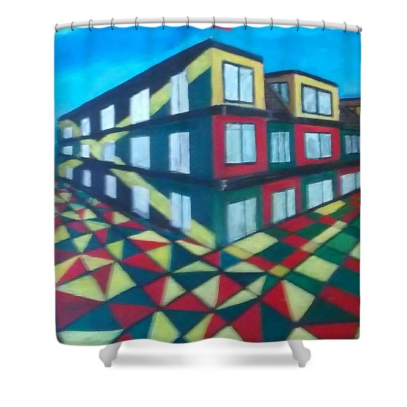 Rasta Art Shower Curtain featuring the painting Rasta Academy by Andrew Johnson
